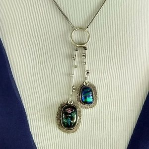 Rustic fancy glass necklace stamped 925